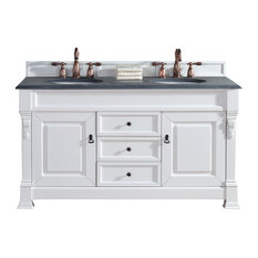 "Brookfield 60"" Double Cabinet, Cottage White, 2CM Black Rustic Stone Top"