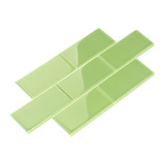 """3""""x6"""" Glass Subway Collection, Powder Room Green"""