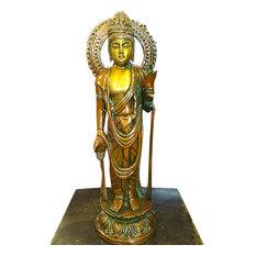 Mogul Interior - Standing Buddha Brass Statue Idol Meditation Yoga Decor Peace Harmony Sculpture - Decorative Objects And Figurines