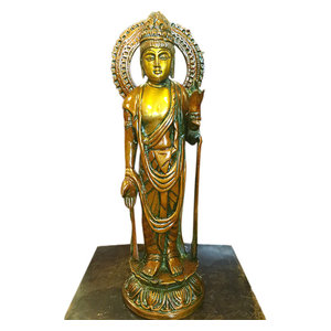 Mogul Interior - Standing Buddha Brass Statue Idol Meditation Yoga Decor Peace Harmony Sculpture - Decorative Objects And Figurines