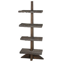 """88""""T Mariah Bookcase Rustic Solid Wood Live Edge Shelves"""