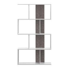Sigma Bookcase, White / Concrete Look