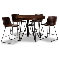 Baxton Studio Carvell 5 Piece Round Counter Height Dining Set in Brown