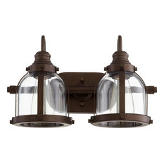 2-Light Banded Dome Vanity Fixture, Oiled Bronze