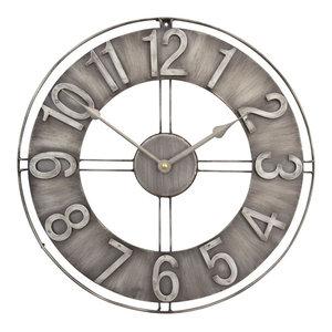 "Studio Designs Home 15"" Industrial Loft Wall Clock, Brushed Steel"