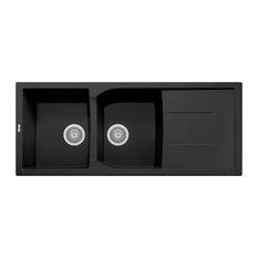 """ALFI brand AB4620DI-BLA Black 46"""" Double Bowl Granite Composite Kitchen Sink wit"""