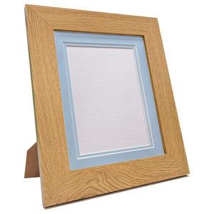 """Brix Frame, Oak, Blue Double Mount, 6x4"""", Image 4.5x2.5"""""""