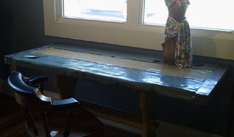Nautical Furniture - Blue and Cream Stained Desk / Table with boat line inlay