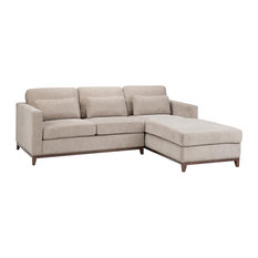 """Petra Contemporary 97"""" Wide Sectional, Fog Gray Chenille Look Fabric"""