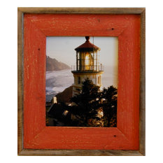 Barn Wood Picture Frame Lighthouse Red Distressed Wood Frame, 5x7