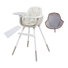 Ovo Ice Taupe High Chair With Seat Pad, Hexagons, White Extensions