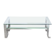 Carlsbad Cocktail Table With Clear Glass Top And Shelf by Diamond Sofa