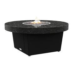 """Circular Fire Pit Table, 48"""", Propane, Black Pearl Granite Top, Black"""