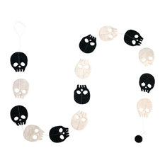 Black And White Felt Skull Garland, Halloween Décor, 5'