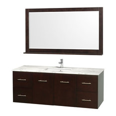 Single Bathroom Vanity Set, Espresso, White Carrera Top With Square Sink, 60""