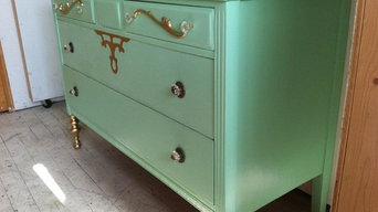 Seafoam Green and Gold Romantic Shabby Chic Dresser