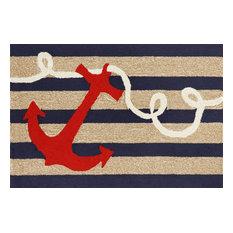 """Frontporch Anchor Rug, Navy, 30""""x48"""""""