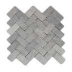 "11""x12"" Light Gray Herringbone Stone Mosaic Tile"