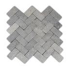 "11""x12"" Light Gray Herringbone Stone Mosaic Tile"