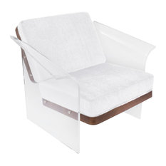 LumiSource Float Chair With Walnut Wood, White Mohair