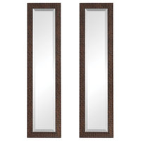 Ailani Burnished Brown Textured Rectangular Wall Mirrors, Set of 2