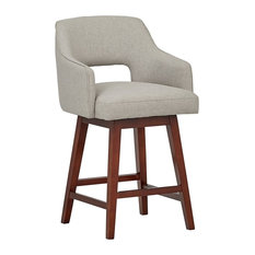 Mid-Century Open Back Swivel Counter Stool In Durable Polyester Fabric And Wood