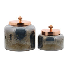 Midcentury Glass Jars With Iron Lids, 2-Piece Set, Black and Copper