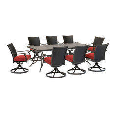 Traditions 9-Piece Dining Set, Red, Cast-Top Table