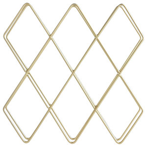 Contemporary 10-Bottle Wine Rack, Gold Brushed Metal, Simple Geometric Design
