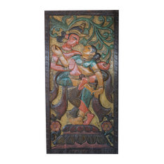 Consigned Vintage Hand Carved Krishna Radha Divine Love  Door Panel