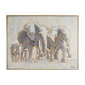 Metallic Elephant Family Framed Hpainted Cnvs