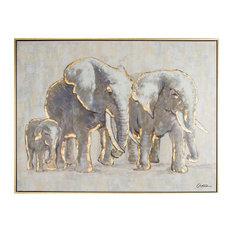Metallic Elephant Family Framed Hpainted Cnvs