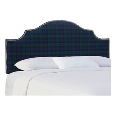 Brenson Twin Nail Button Notched Headboard Blackwatch