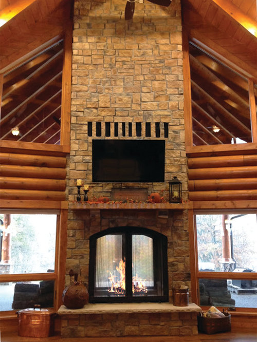 Combine the best of both worlds with an Acucraft wood burning Patent Pending Indoor/Outdoor see-through fireplace. Whether you're lounging next to your fireplace with family or enjoying an outdoor