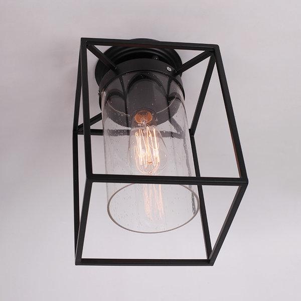 Metal Flush Mount With Seedy Glass, Matte Black