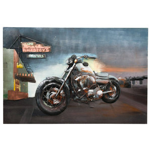 """Harley Davidson on Route 66"" Metal Wall Art, 120x80 cm"