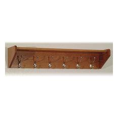 Wooden Mallet 6 Hook Shelf 36HCRNMO, Medium Oak