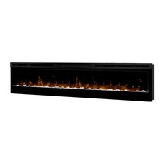 Prism Series Black Linear Wall-mount Electric Fireplace, 74""