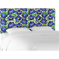 Upholstered Headboard in Carla Floral Blue, Queen