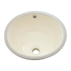 """Vanity Fantasies """"Bud"""" Porcelain Oval Undermount Vanity Sink, Bisque"""