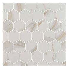"""12""""x12"""" Pietra Calacatta Hexagon Matte Mosaic, Set of 15"""