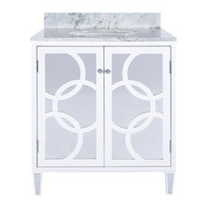 Worlds Away White Lacquer Bath Vanity With Overlapping Circle Detail On Mirror