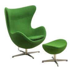 LeisureMod   LeisureMod Egg Chair And Ottoman, 2 Piece Set, Green Wool