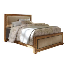 Willow Complete Bed, Distressed Pine, King, Upholstered Bed