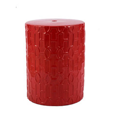 "Red Ceramic Garden Stool D13.5x18"""