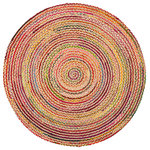 "Anji Mountain - Merida Round Rug, 8' - Bring the happy feels into your home with the handmade round Merida Area Rug. Thin concentric circles of golden jute and brilliantly colored braided rag yarn will make you smile each time you pass by. Liven up a sparse corner, showcase your furniture in the middle of a dining or living room or create a reading nook with this rug and a few poufs. Hand-braided and -stitched by skilled artisans in India, this rug is eco-friendly and sustainably made from all-natural jute and soft cotton upcycled from t-shirts and other garments. You'll love its gentle feel under your feet and the way its durable, hard-wearing properties protect the floors of your busiest rooms. Note: It is normal for natural fiber rugs to ""sprout"" — what may seem to be a pulled thread is really just a yarn whose fibers have sprouted. This is not a defect but an inherent quality of certain natural fiber rugs. Simply clip the sprout that has popped up with sharp scissors."