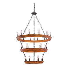 Lansdale 3 Tier Chandelier (12+6+6 Light), Black Iron