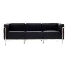 Jackie Classic Leather Sofa, Black