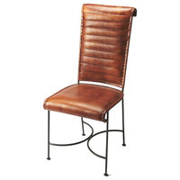 Offex Home Decor Iron and Leather Side Chair, Medium Brown