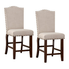 Rubber Wood High Chair With Studded Trim Cream & Cherry Brown Set Of 2